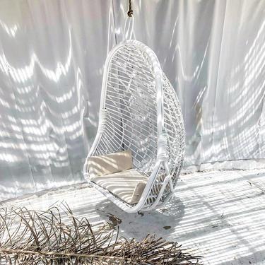 Siren XLG Rattan Hanging Chair Hammock -  White by TheWickedBoheme