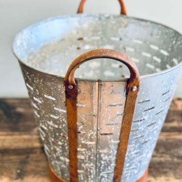 Large Antique Olive Bucket | Turkish Olive Bucket | Greek Olive Bucket | Galvanized | Zinc | Planter | Handles | Industrial | Metal Planter by PiccadillyPrairie