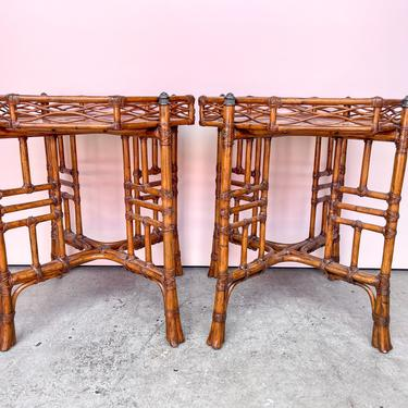Pair of Island Chic Rattan Side Tables