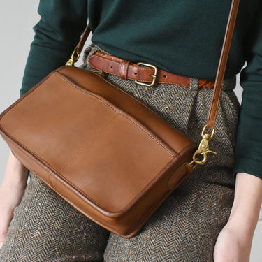 vintage coach nyc companion bag, brown leather crossbody purse by ImprovGoods