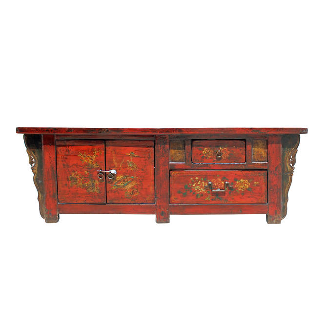 Chinese Distressed Red Flower Graphic Low TV Console Cabinet cs5123E by GoldenLotusAntiques