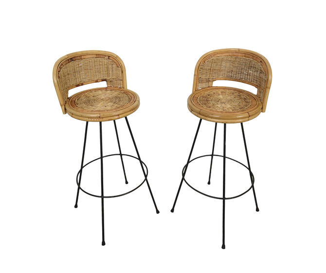 Swell Wicker Bar Stools Danny Ho Fong Tropi Cal Style Pair Of Bar Stools Mid Century Modern By Hearthsidehome Bralicious Painted Fabric Chair Ideas Braliciousco