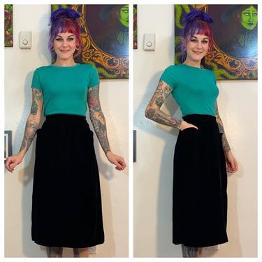 Vintage 1950's Black Velvet Pencil Skirt with Pockets by SurrealistVintage