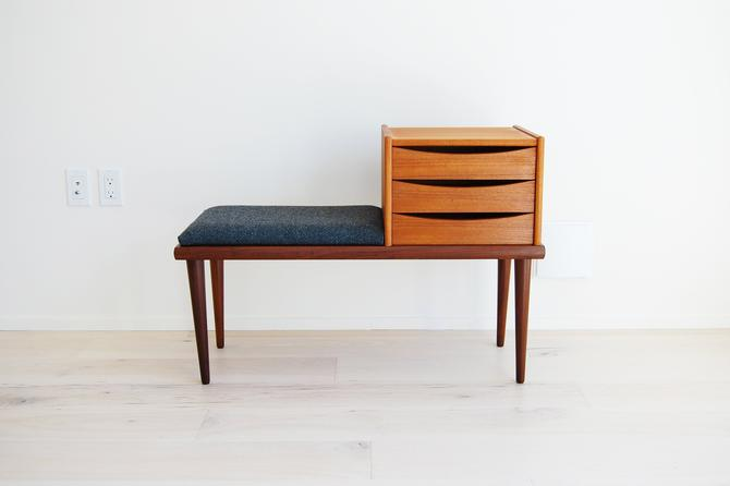 Scandinavian Modern Teak Telephone Bench with Drawers Ganddal Mobelfabrikk in Norway by MidCentury55