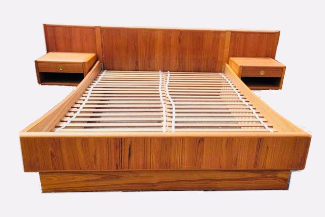 D-Scan Mid-Century Danish Teak Queen Bed & Floating Nightstands by MSGEngineering