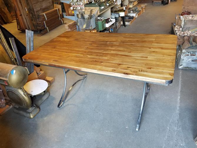 Wood Table with Sturdy Steel Base 60 W x 36 L x 30 H