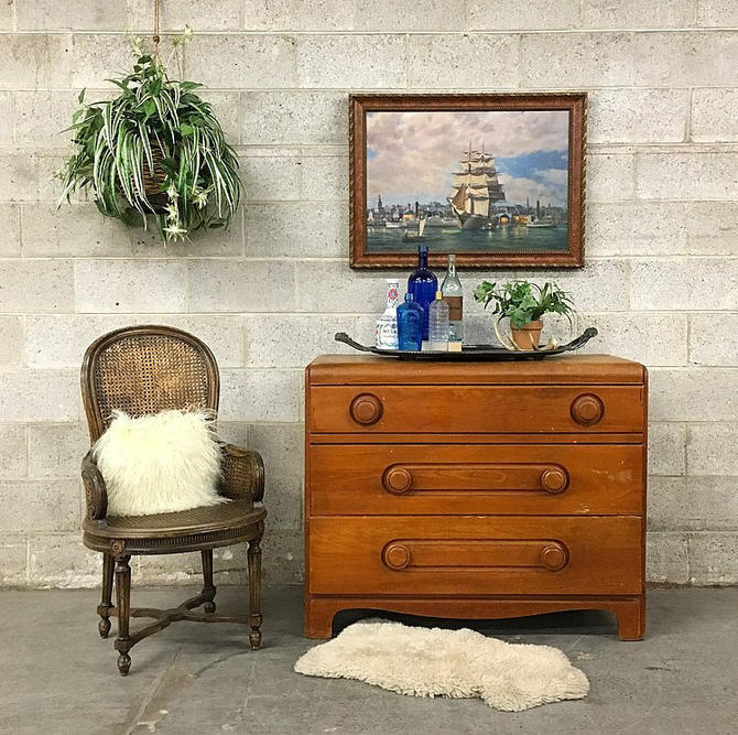 LOCAL PICKUP ONLY Vintage Wood Dresser Retro 1940's Light Elm 3 Drawer Dresser with Wood Button Knobs and a Curved Frame by RetrospectVintage215