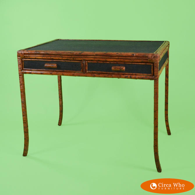 Burnt Bamboo and Grasscloth Desk