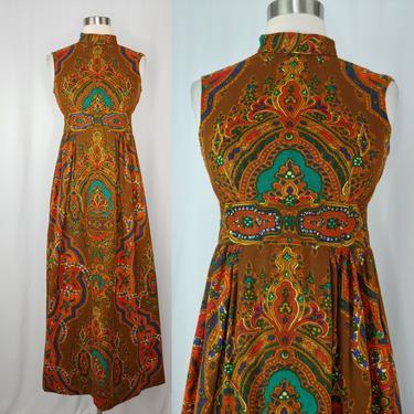 Vintage Seventies Sleeveless Maxi Dress - XS 70s Psychedelic Print Embellished Sequin Rhinestone Dress by JanetandJaneVintage