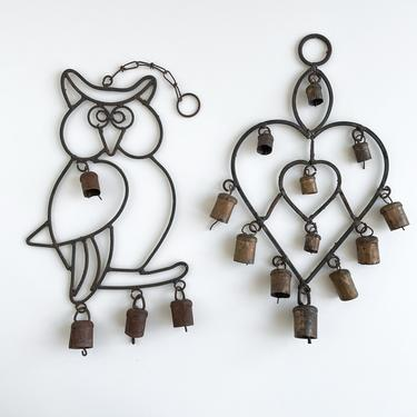 Vintage Iron Windchimes, Rustic Owl and Double Heart Wind Chimes with Cowbells, Vintage Garden Metal Hanging Art by PebbleCreekGoods