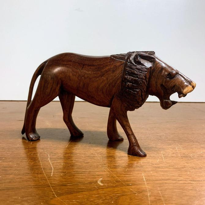 Vintage Hand Carved Wood Lion Figurine by OverTheYearsFinds