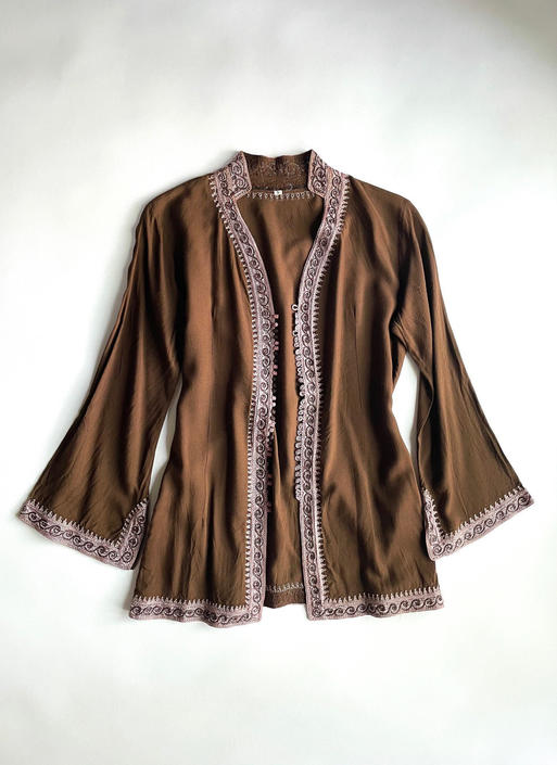 Brown Jacket With Purple Embroidery And Buttons by hemlockvintage