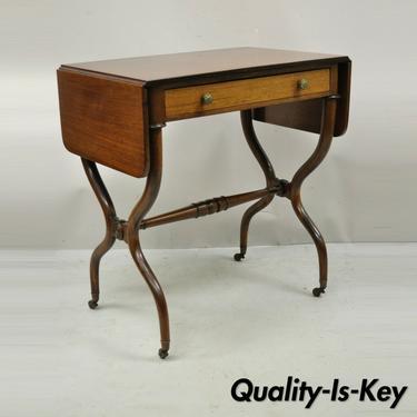 Vintage Regency Mahogany Drop Leaf Pembroke One Drawer Side Table Small Desk