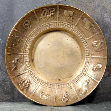 Vintage Brass Small Chinese Zodiac Bowl - Small Brass Trinket Bowl - Zodiac Ashtray   | FREE SHIPPING by Bixley