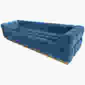 "Custom ""Oscar"" Tufted Blue Velvet Sofa with Brass Base"