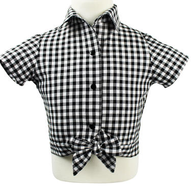 Girl's Black and White Gingham Knot Top 2-10 by VintageGaleria