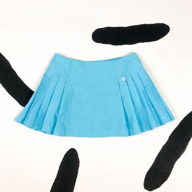 90s Robin's Egg Blue Pleated Tennis Skirt / Mini Skirt / Large / Micro Mini / y2k / 00s / Clueless / Cyber / Club Kid / Rave / L / Size 12 / by badatpettingcats