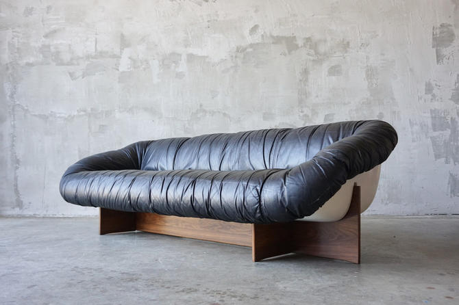 Percival Lafer Leather & Fiberglass Sofa by FandFVintage
