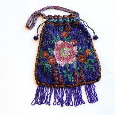 1900s Blue Floral Beaded Evening Bag   Blue & Pink Flower Beaded Handbag   Gustus Katz by GlennasVintageShop