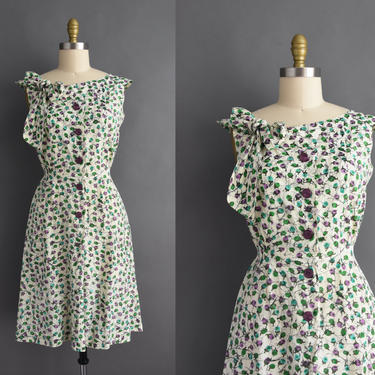 vintage 1950s | Beautiful Purple & Green Floral Print Cotton Day Dres | Small | 50s dress by simplicityisbliss