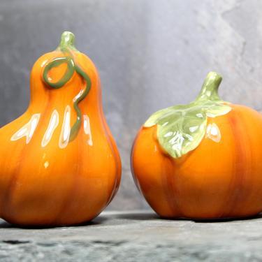 Fall Decor Orange Gourd  Salt and Pepper Shakers - Ceramic Pumpkin - Golden Harvest - Autumn Table - Thanksgiving Decor | FREE SHIPPING by Bixley