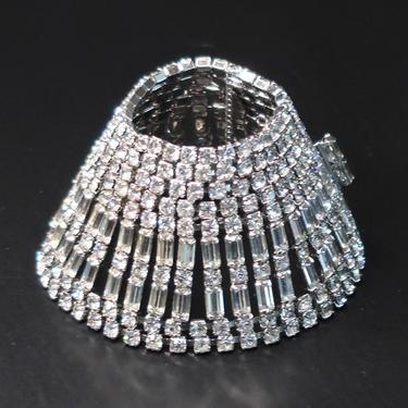 """Weiss 1950s 2"""" Clear Rhinestone Articulated Cuff, Mid Century Glamour Jewelry, Wide Cocktail Bracelet, Bridal Jewelry, by eClectricityVintage"""