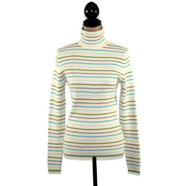 90s Striped Turtleneck, Ribbed Sweater Top, Cotton Knit Shirt Long Sleeve, Blue Green White, 1990s Clothes Women, Vintage Clothing from GAP by MagpieandOtis