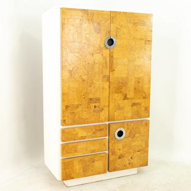 Milo Baughman for Lane Mid Century Laminate Burlwood and Chrome Armoire Gentleman's Chest - mcm by ModernHill