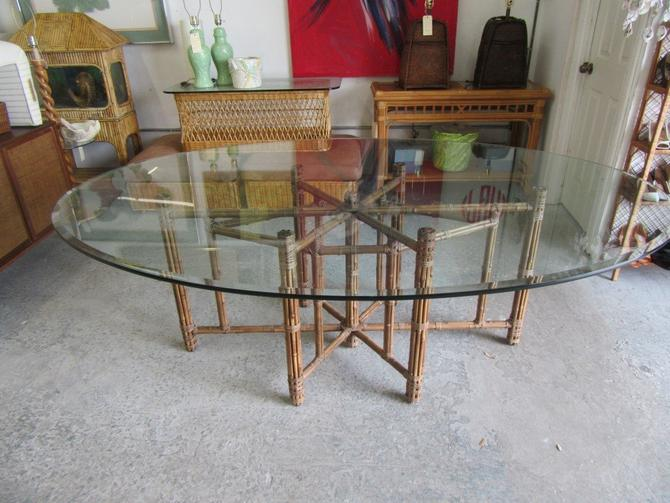 McGuire Natural Bamboo Glass Top Table