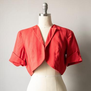1950s Red Linen Cropped Bolero Top M by dejavintageboutique