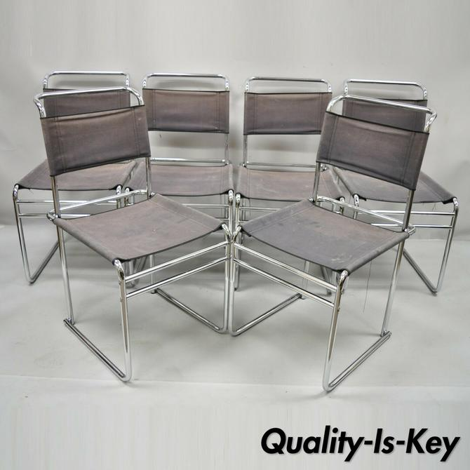 Marcel Breuer B5 Dining Chairs Chrome and Canvas Vintage Bauhaus - Set of 6