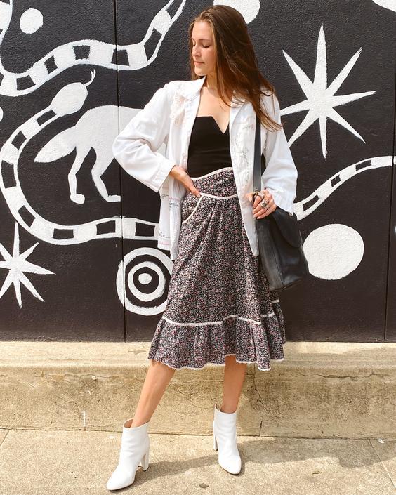 Black Floral Gunne Sax Skirt