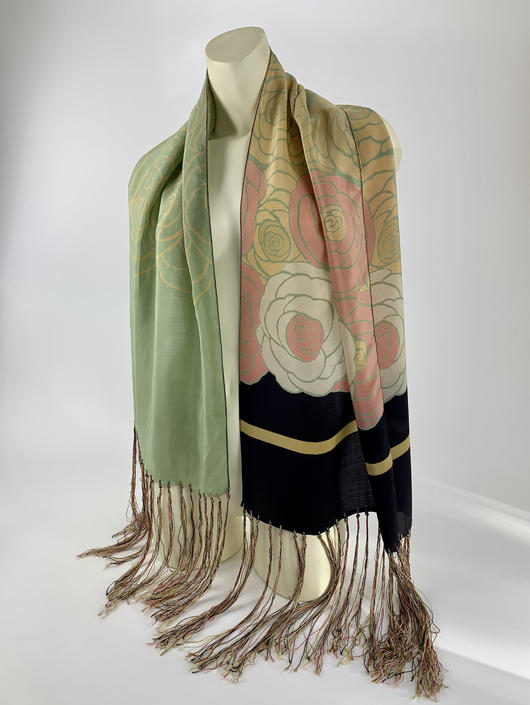 1920'S-30'S Art Deco Scarf - All Silk - Fabulous Asymmetrical Print - Lovely Vintage Colors  - Long Knotted Fringe by GabrielasVintage