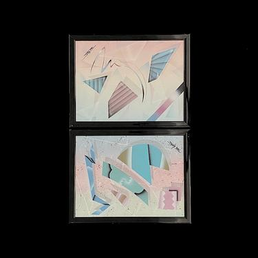 """Vintage Post Modern PAIR of Framed Original Paintings on Canvas 1980s Geometric Abstract Style Artist Signed Martinez Manzo? 12"""" x 16"""" by SwankyChaperooo"""