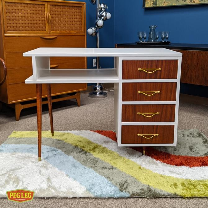 Mid-Century Modern white desk with brass and mahogany details