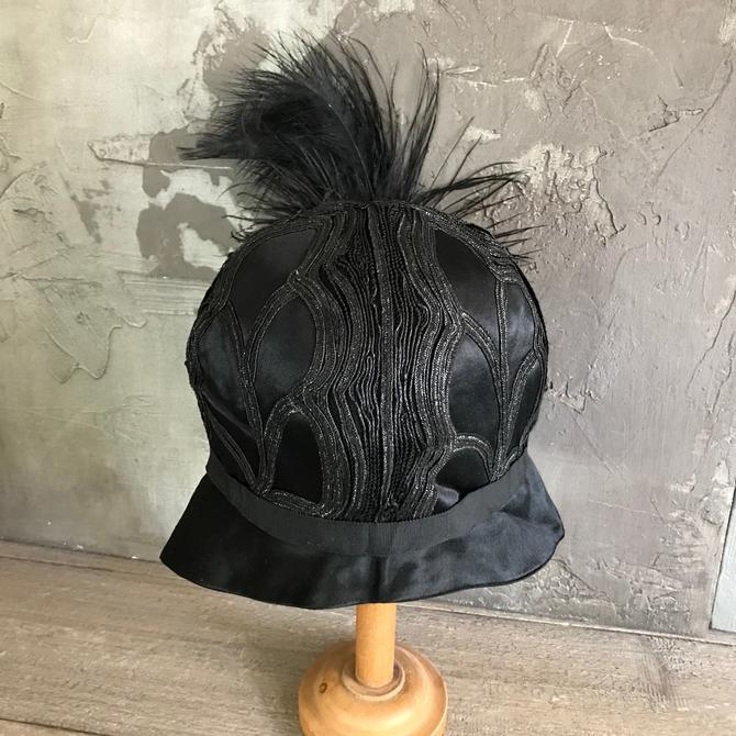 c77215ed110ccb 1920s Black Cloche Hat, Silk, Feathered, Flapper Era, Formal Dress Hat by