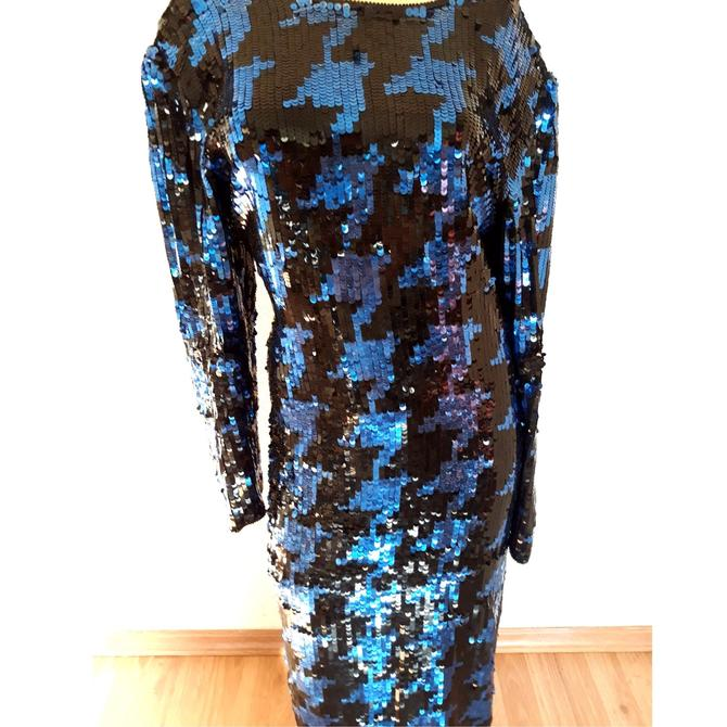 VINTAGE sequin HOUNDSTOOTH DRESS, bronze and black beaded gown, full length, long beaded cocktail dress, art deco, size large l us 14 by RETROSPECTNYC