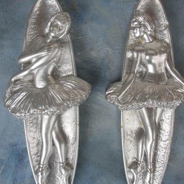 Vintage Chalkware Ballerina Plaques Pair Of Silver Women Ballet Dancer Hangings 1993 By Miller Art Studio by luckduck