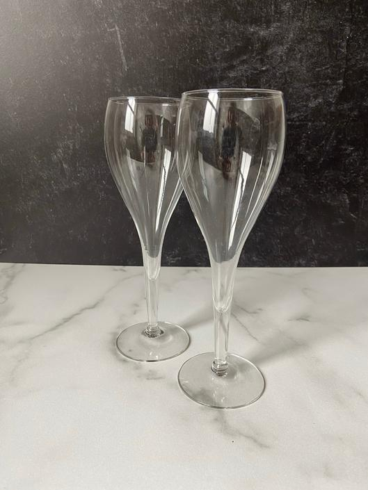 Vintage Champagne Glasses, balloon shape and hollow stem, wedding toasting glasses - set of 2 by theHeirloomYard