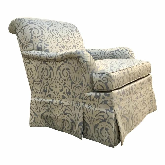 Hickory Chair Traditional Blue and Silver Damask Sateen Skirted Colefax Club Chair
