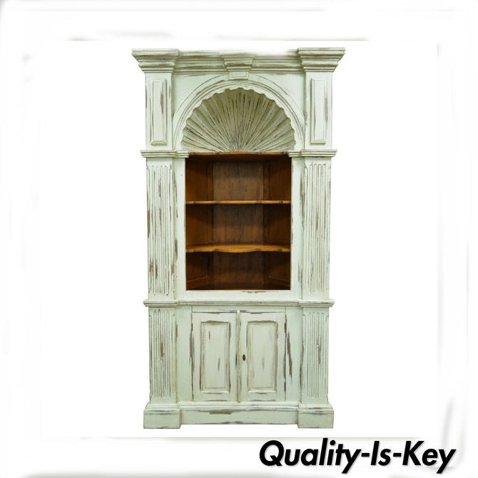 Shell Carved Blue Distress Painted Country French Style Corner Cabinet Cupboard