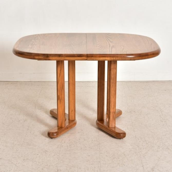 Vintage Solid Oak Dining Table with Leaves