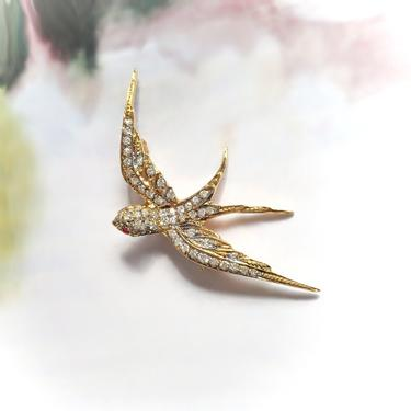 Vintage .47ct.tw. Ruby Diamond Flying Swallow Bird Brooch Pin 14K Yellow Gold by YourJewelryFinder