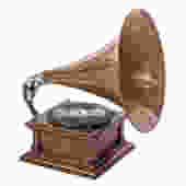 Victor V Phonograph with Spear Tip Oak Horn