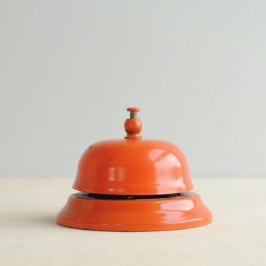 Vintage Desk Bell, Orange Service Bell, Front Desk Lobby Bell, Reception Bell, Hotel Bell by LittleDogVintage