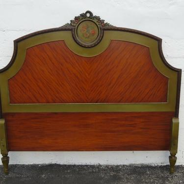 Early 1900s French Painted Carved Hand Painted Full Size Headboard 2462