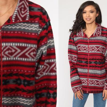 Southwestern Fleece Jacket 90s Sweatshirt Red Sweater Aztec Jacket Zip Up Bohemian 1990s Southwest Boho Vintage Large xl l by ShopExile