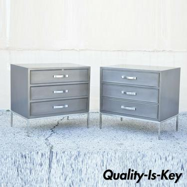 Swaim Furniture Gray Lacquer 3 Drawer Grant Chest Modern Nightstands - a Pair