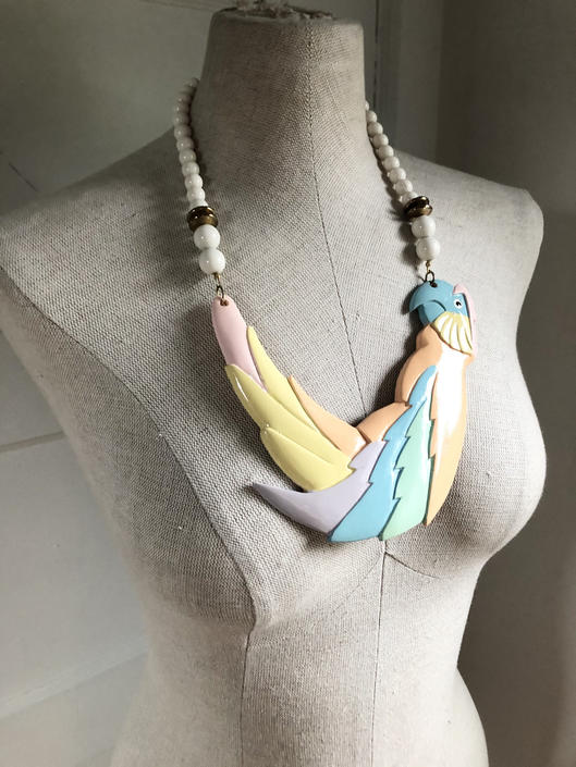 1980s Pastel Parrot Statement Necklace by VeeVintageShop