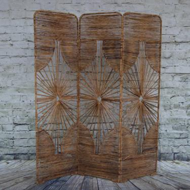 SHIPPING NOT FREE!!! Rare Vintage Raffia Room Divider (metal frame covered with raffia) by WorldofWicker